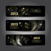 Set of abstract vector New Year headers — Stock Vector