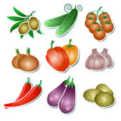 Set of vector vegetables — Stock Vector