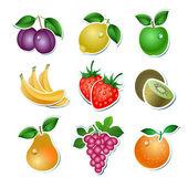 Conjunto de frutas de vector — Vector de stock