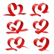 Heart from red ribbon set — Stock Vector