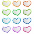 Stock Vector: Heart shape stickers