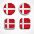 Denmark flag buttons — Stock Vector