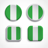 Nigeria flag buttons — Stock Vector