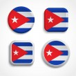 Cuba flag buttons — Stock Vector