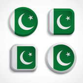 Pakistan flag buttons — Vector de stock