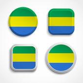 Gabon flag buttons — Stock Vector