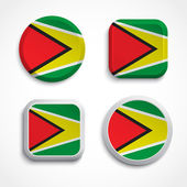 Guyana flag buttons — Stock Vector
