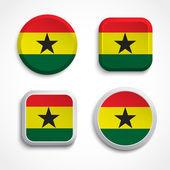 Ghana flag buttons — Stock Vector