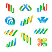 Abstract lines icons — Stock Vector