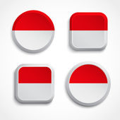 Botones de bandera indonesia — Vector de stock