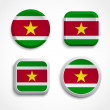 Stock Vector: Suriname flag buttons