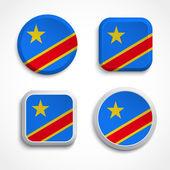 Kongos flagga knappar — Stockvektor