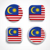 Malaysia flag buttons — Stock Vector