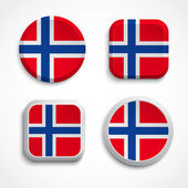 Norway flag buttons — Stock Vector
