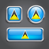 Saint Lucia flag glass buttons — Stock Vector
