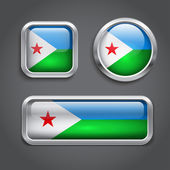 Djibouti flag glass buttons — Stock Vector