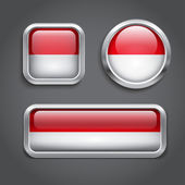 Indonesia flag glass buttons — Stock Vector