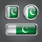 Pakistan flag glass buttons — Stock Vector