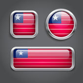 Liberia flag glass buttons — Stock Vector
