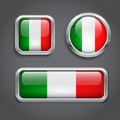 Italy flag glass buttons — Stock Vector