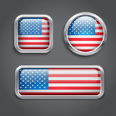 USA flag glass buttons — Stock Vector