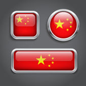 China flag buttons — Stock Vector