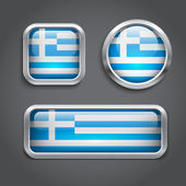 Greece flag glass buttons — Stock Vector