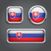 Slovakia flag glass buttons — Stock Vector