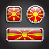 Macedonia flag glass buttons — Stock Vector