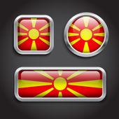 Macedonia flag glass buttons — Stock Vector