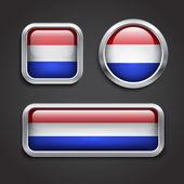 Holland flag glass buttons — Stock Vector