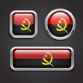 Angola flag glass buttons — Stock Vector