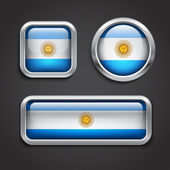 Argentina flag glass buttons — Stock Vector