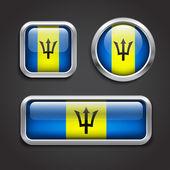 Barbados flag glass buttons — Stock Vector