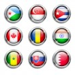 World flags round buttons — Stock Vector #34684439