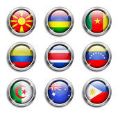 World flags round buttons — Stock Vector