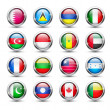 World flag glass icons — Stock Vector