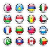 World flag glass icons — Stock Vector