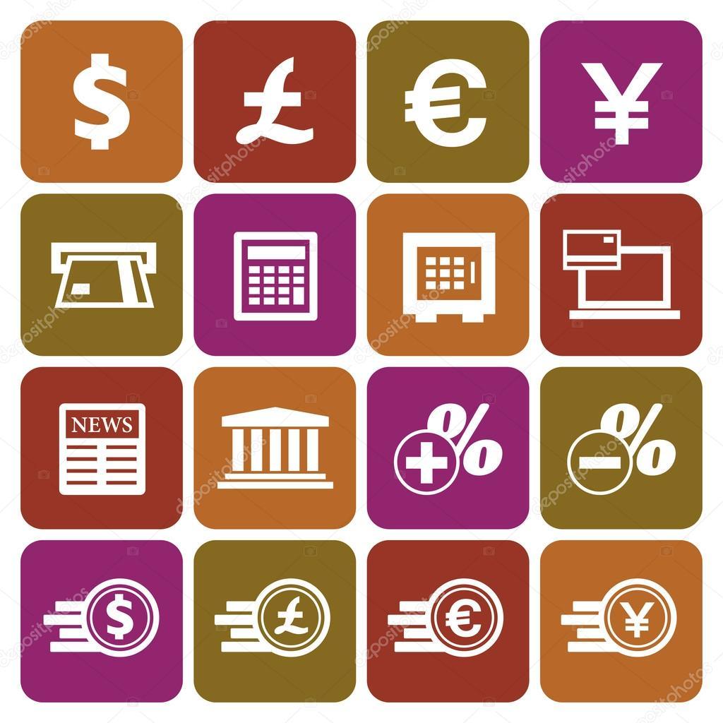 金融和货币图标集平面设计, 矢量图 — 矢量图片作者 kalomirael