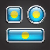 Palau flag glass buttons — Stock Vector