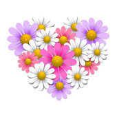 Flowers in the shape of heart — Stock Vector