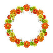 Wreath from bright flowers — Stock Vector