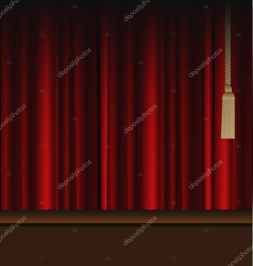 cortinas rojas para el escenario de teatro u ilustracin de stock