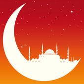Luna con mezquita — Vector de stock