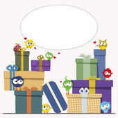 Gift Boxes and Cute Birds — Cтоковый вектор