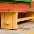 Colorful bench in Spanish village in Balboa park - Photo