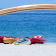 Outrigger and canoes at Kaunaoa beach — Stock Photo