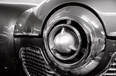 Futuristic chrome details of classic American car — Стоковое фото