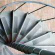 Spiral, step, metal, staircase, green, weathered, red, paint, ge — Stock Photo #40493851