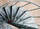 Spiral, step, metal, staircase, green, weathered, red, paint, ge — Stock Photo